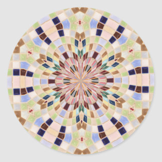 Caleidoscopio azul y verde del mosaico pegatina redonda