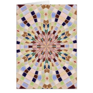 Caleidoscopio azul y verde del mosaico tarjeta de felicitación
