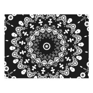 Caleidoscopio blanco y negro 3 tarjetas postales