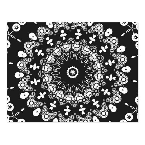 Caleidoscopio blanco y negro 3 tarjeta postal