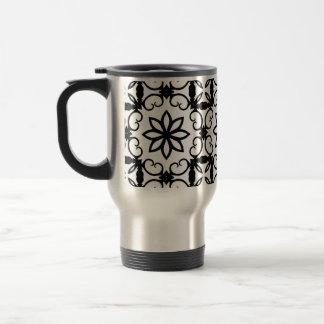 Caleidoscopio blanco y negro de lujo de la flor taza