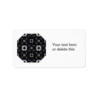 Caleidoscopio brillante negro fresco de la estrell etiqueta de dirección