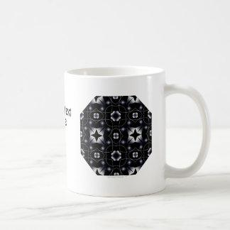 Caleidoscopio brillante negro fresco de la estrell taza básica blanca