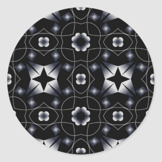 Caleidoscopio brillante negro fresco de la pegatina redonda