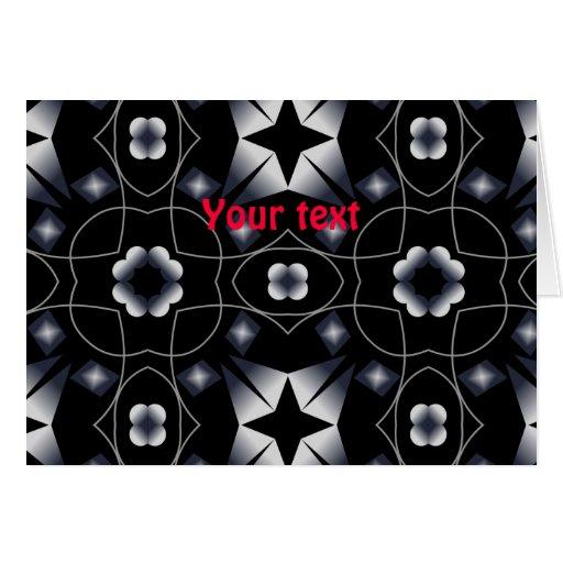 Caleidoscopio brillante negro fresco de la tarjeta de felicitación