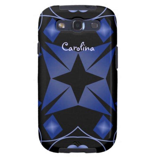Caleidoscopio brillante negro y azul Samsung de la Galaxy SIII Carcasas