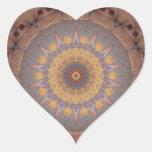 Caleidoscopio colorido 7 de las baldosas pegatina en forma de corazón