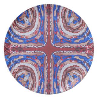 Caleidoscopio cruzado elaborado azul y marrón plato para fiesta