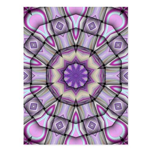 Caleidoscopio cuadrado púrpura tarjeta postal