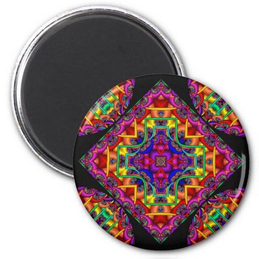 Caleidoscopio de la fascinación del fractal imanes para frigoríficos