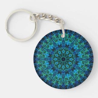 Caleidoscopio de las gemas del verde azul llaveros