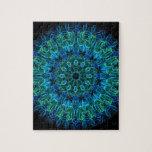 Caleidoscopio de las gemas del verde azul puzzles con fotos