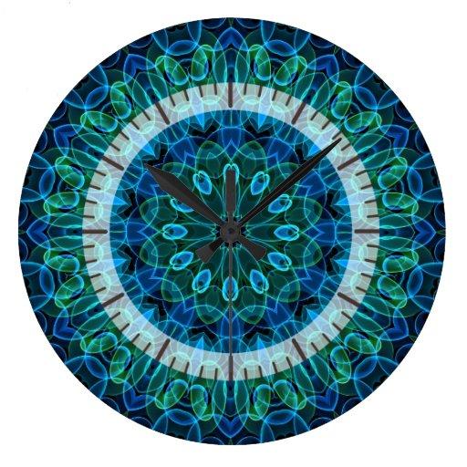 Caleidoscopio de las gemas del verde azul reloj de pared