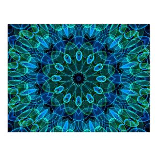 Caleidoscopio de las gemas del verde azul tarjetas postales