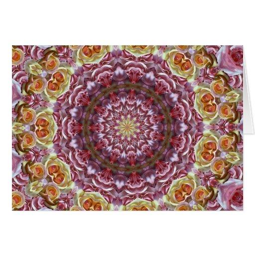 Caleidoscopio de los rosas tarjeta de felicitación