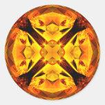 Caleidoscopio de oro etiquetas redondas