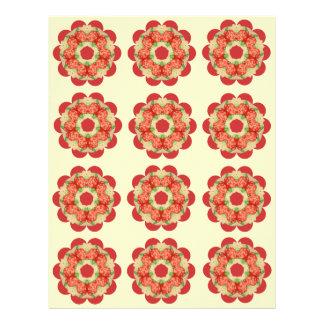Caleidoscopio de papel de los rosas rojos del membrete personalizado