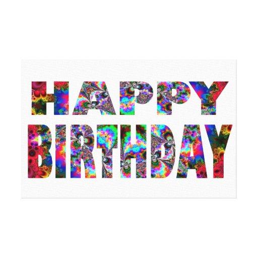 Caleidoscopio del feliz cumpleaños impresion en lona