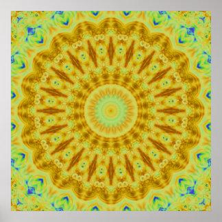 Caleidoscopio del fractal del resplandor solar impresiones