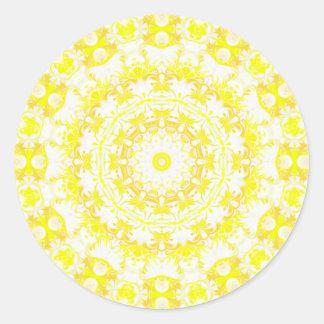 Caleidoscopio del merengue del limón pegatina redonda
