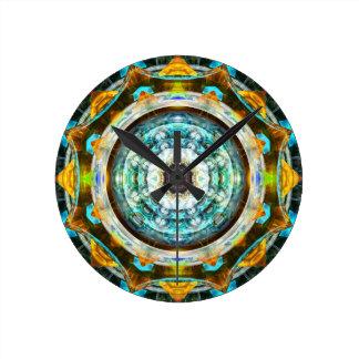 Caleidoscopio del vidrio del fractal relojes de pared