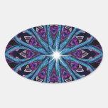Caleidoscopio elegante azul púrpura calcomania de oval