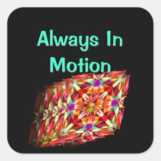Caleidoscopio en el movimiento - siempre en el pegatina cuadrada