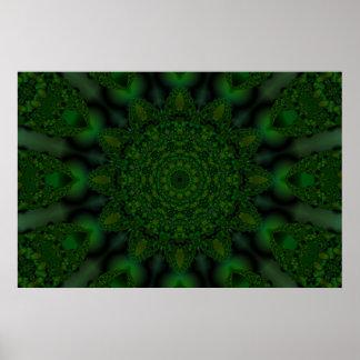 Caleidoscopio esmeralda del fractal de la flor impresiones