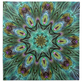 Caleidoscopio espectacular de la pluma del pavo re servilleta de papel