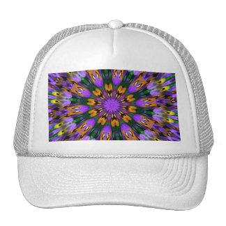 Caleidoscopio floral del pensamiento púrpura gorros