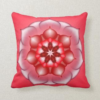 Caleidoscopio floral rojo de la mandala de Lotus Almohadas