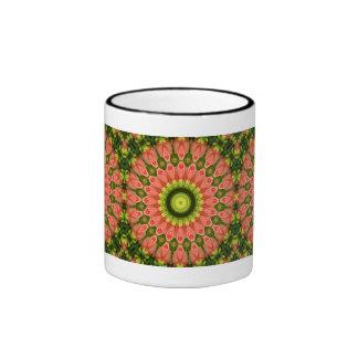 Caleidoscopio floral taza de dos colores