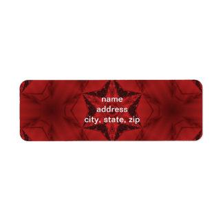Caleidoscopio gótico rojo oscuro estrella de 6 etiqueta de remitente