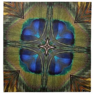 Caleidoscopio impresionante de la pluma del pavo r servilletas