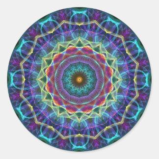 Caleidoscopio interno de la flor pegatina redonda