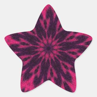 Caleidoscopio manchado rosa del leopardo pegatina en forma de estrella