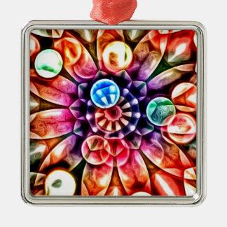 Caleidoscopio multicolor brillante de la flor adorno cuadrado plateado