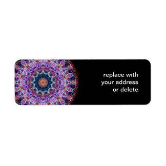 Caleidoscopio púrpura de Lotus Etiqueta De Remite
