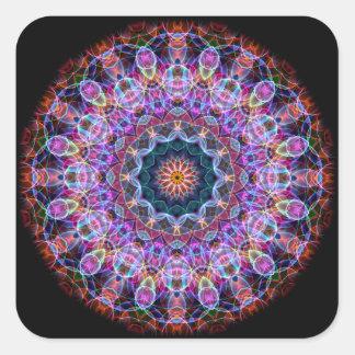 Caleidoscopio púrpura de Lotus Pegatina Cuadrada