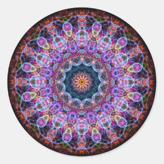 Caleidoscopio púrpura de Lotus Pegatina Redonda