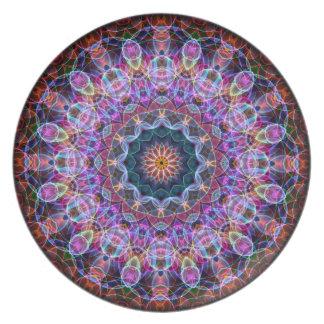 Caleidoscopio púrpura de Lotus Platos Para Fiestas
