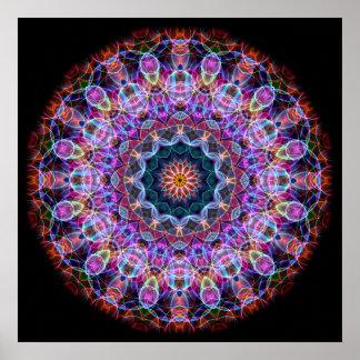 Caleidoscopio púrpura de Lotus Póster