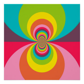 Caleidoscopio retro maravilloso del arco iris del  póster