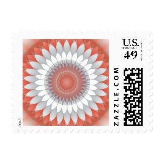Caleidoscopio rojo, blanco y gris de la flor sello