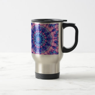 Caleidoscopio rosado y azul púrpura del fractal taza de café