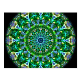 Caleidoscopio verde de la primavera tarjetas postales