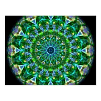 Caleidoscopio verde de la primavera postal