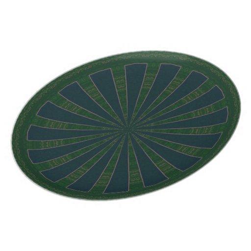 Caleidoscopio verde y azul de la rueda platos de comidas