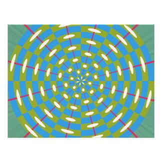 Caleidoscopio verde y azul flyer a todo color
