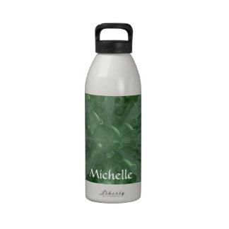 Caleidoscopio y burbujas verdes botellas de beber